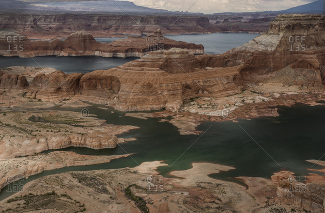 High angle view of river by rock formations at Grand Staircase-Escalante National Monument