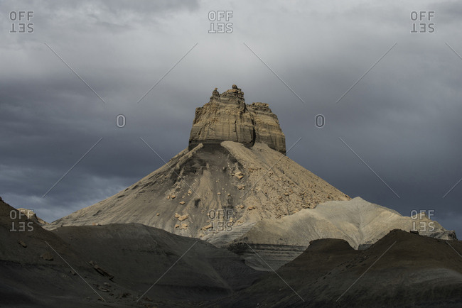 Scenic view of rock formations against stormy clouds at Grand Staircase-Escalante National Monument