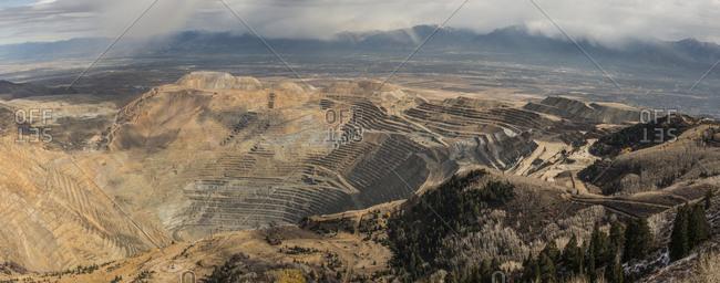High angle view of Bingham Canyon mine