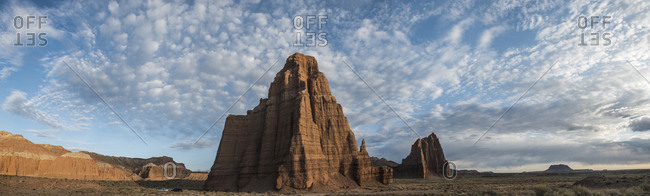 Panoramic view of Cathedral Valley against cloudy sky at Capitol Reef National Park