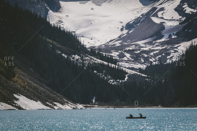 Scenic view of Lake Louise against mountains at Banff National Park