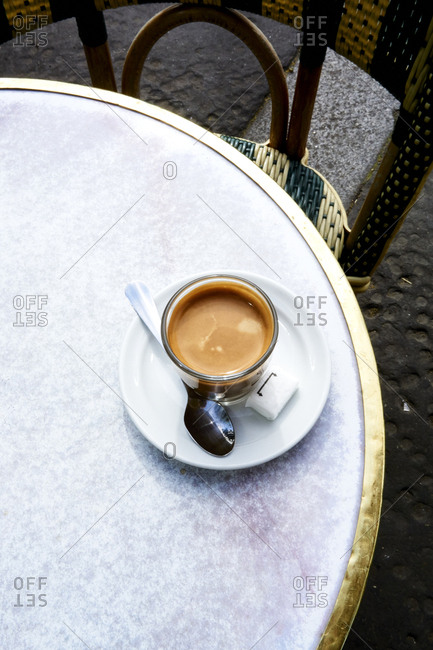 High angle view of tea cup on table at sidewalk cafe