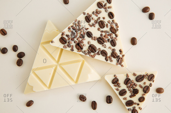White chocolate with coffee beans and cocoa beans
