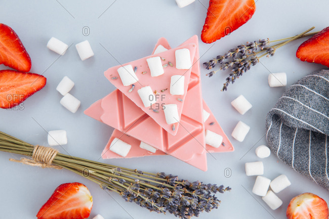 Stacked strawberry chocolate with marshmallow and lavender