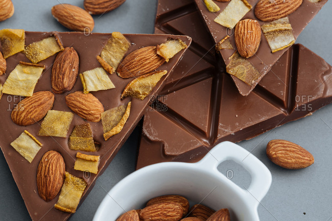 Milk chocolate with almonds and dried pear