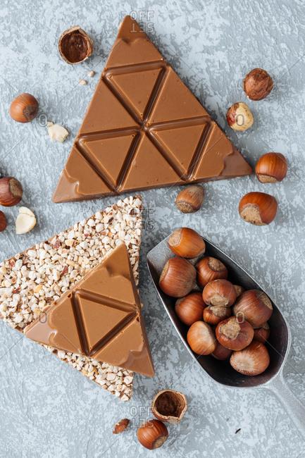 Overhead view of caramel chocolate triangles with hazelnut