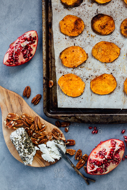 Roasted sweet potato rounds on baking sheet