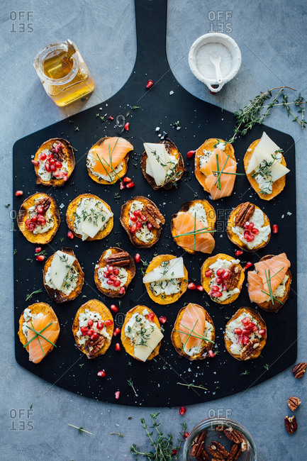 Roasted sweet potato crostini on serving tray