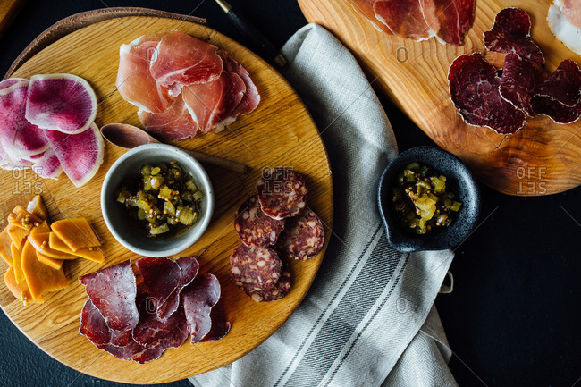 Charcuterie board with meat and cheese