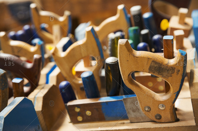 Close up of a woodworking tools in a boat-builder's workshop