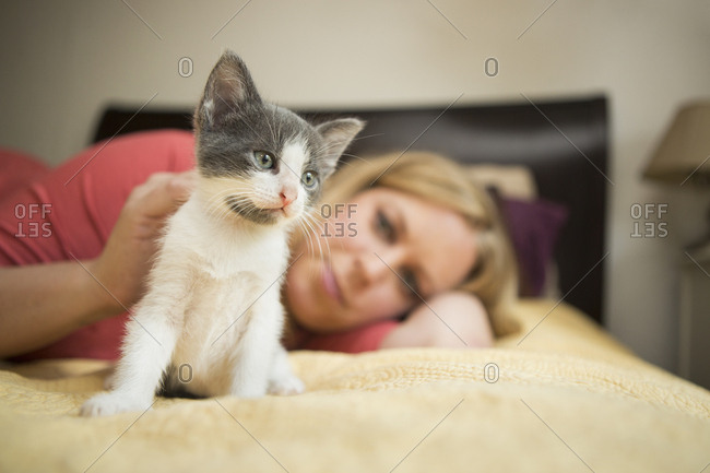 A woman lying on a bed stroking a small grey and white kitten