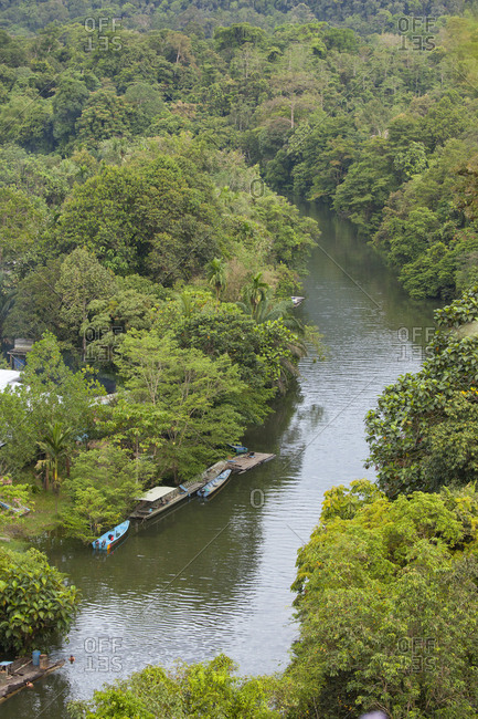 Scenic river in tropical rainforest
