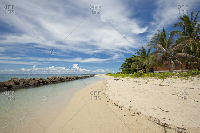 Tropical sandy beach with palm trees and jetty