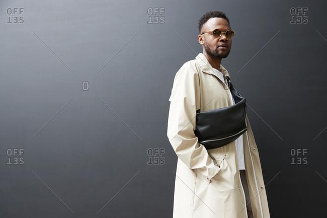 London England June 9 2017 Black Man Wearing A Macintosh