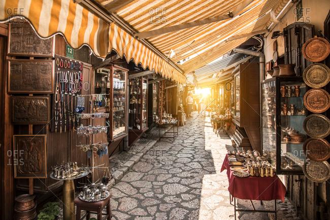 June 27, 2017: Market in the Old Town, Sarajevo, Bosnia and Herzegovina