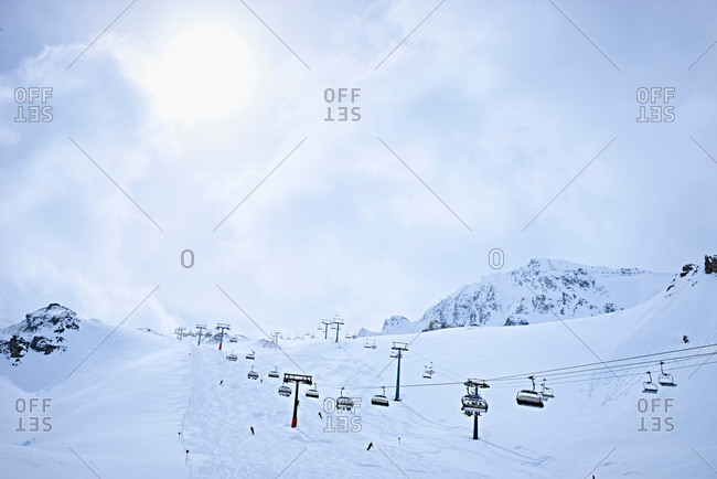 Snow-covered with ski lifts, Hintertux, Tirol, Austria