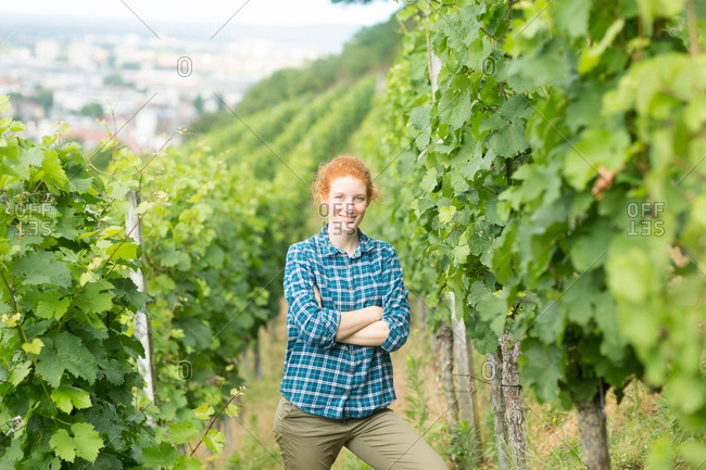 Woman working in vineyard, Baden-Wurttemberg, Germany