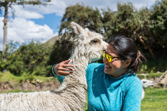 Woman hugging an alpaca, Chocosillane Pucara, Cusco, Peru, South America