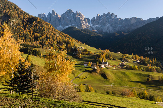 Scenic view of Odle mountains, Santa Maddalena, Funes Valley, Dolomites, Alto Adige, Italy, Europe