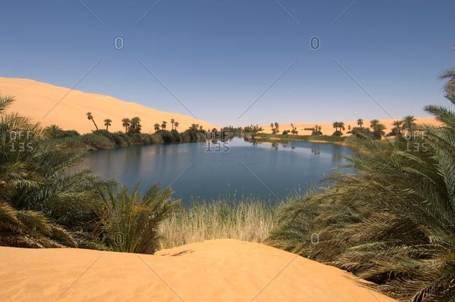 Umm El Ma lake, Erg Awbari, Sahara desert, Fezzan, Libya