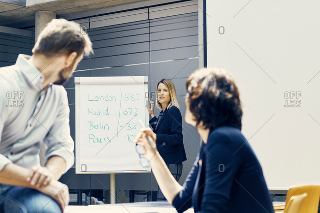 Young businesswoman giving international business presentation in office