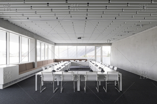 Torhout, Belgium - March 31, 2014: Office building meeting room