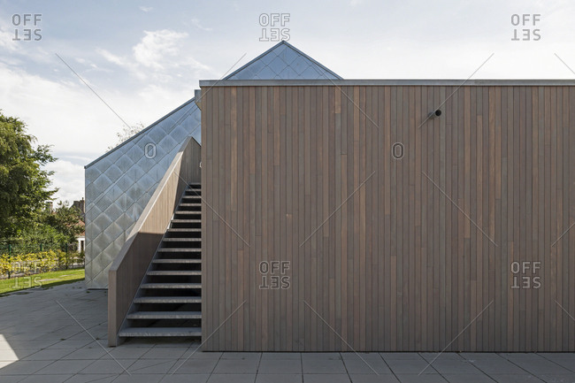 Nieuwmunster, Belgium - August 30, 2013: Modern exterior of school building