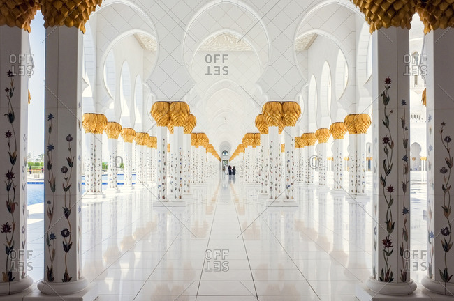 Abu Dhabi, United Arab Emirates - April 30, 2015: White marble hallway in Sheikh Zayed Mosque in Abu Dhabi