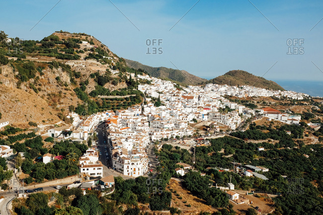 Aerial view of Andalusian mountain village of Frigiliana