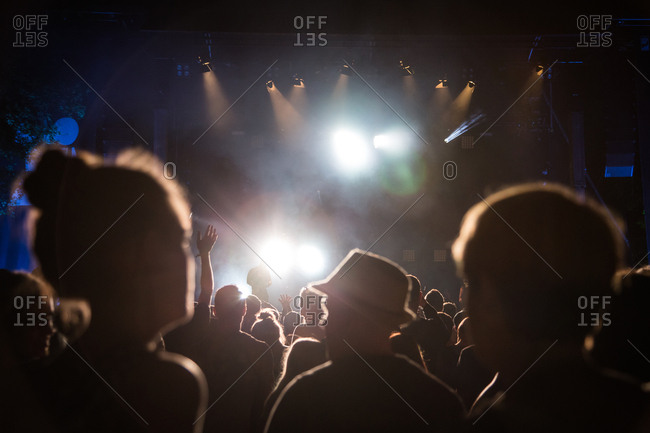Augsburg, Germany - June 5, 2015: View of stage through audience at Modular Festival