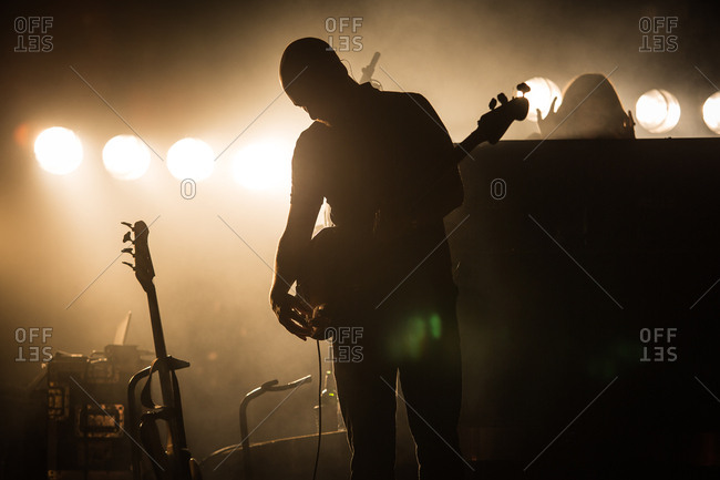 Budapest, Hungary - August 11, 2015: Rock musician on stage during Sziget Festival