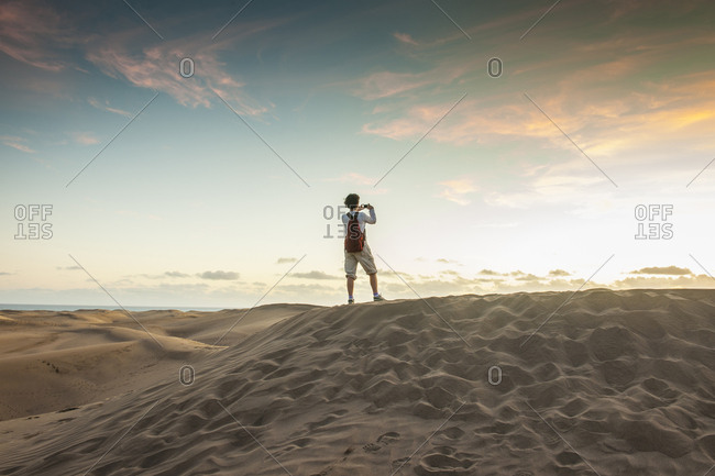 Canary Islands (Spain), Gran Canaria, Maspalomas  - March 4, 2017: The famous sand dunes