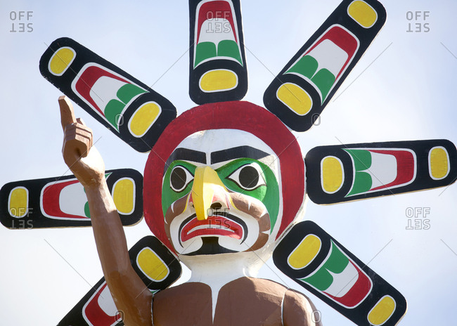 Alert Bay, British Columbia - September 3, 2017: First Nations wood totem