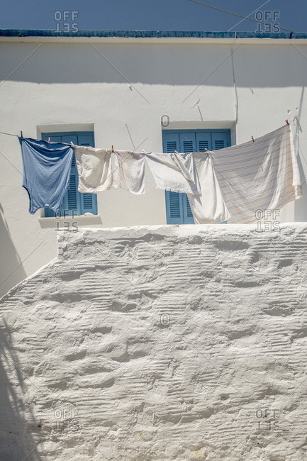 Clothes hanging in Greek village
