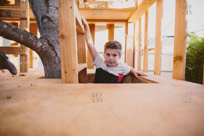 Boy climbing in tree house