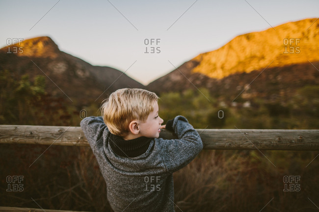 Boy resting on wood post fence