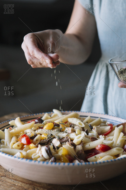 Close-up of woman making Italian pasta