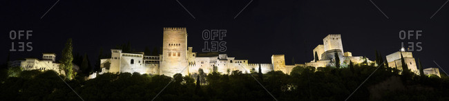 Spain- Andalusia- Granada- Alhambra palace by night