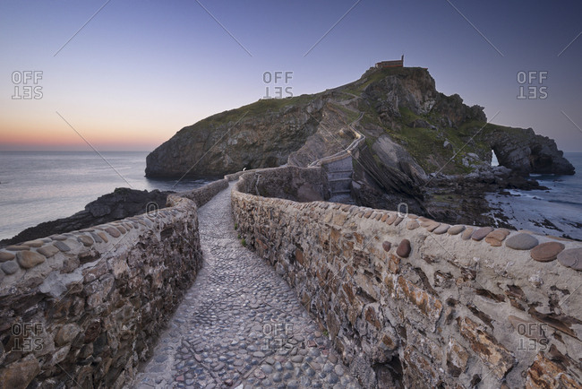 Spain- Basque Country- San Juan de Gaztelugatxe hermitage at dusk