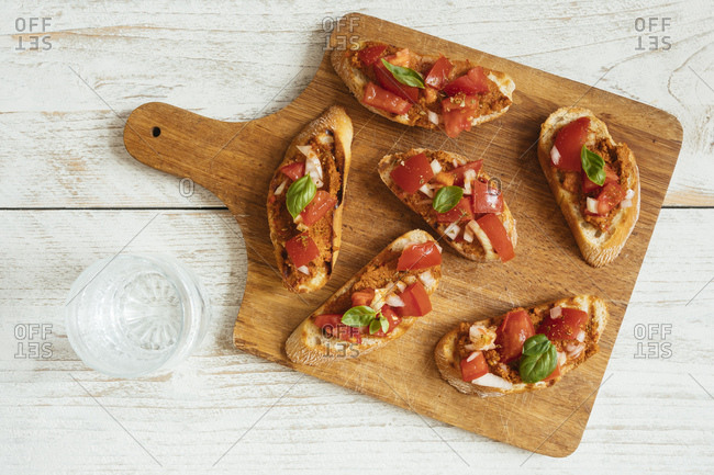 Bruschetta with Muhammara Spread and Chopped Tomatoes