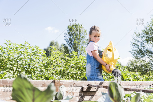 Girl in the garden watering plants