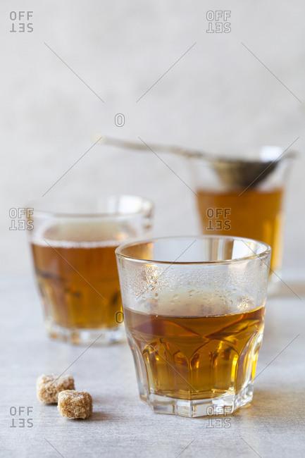 Hot ceylon black tea in a glass