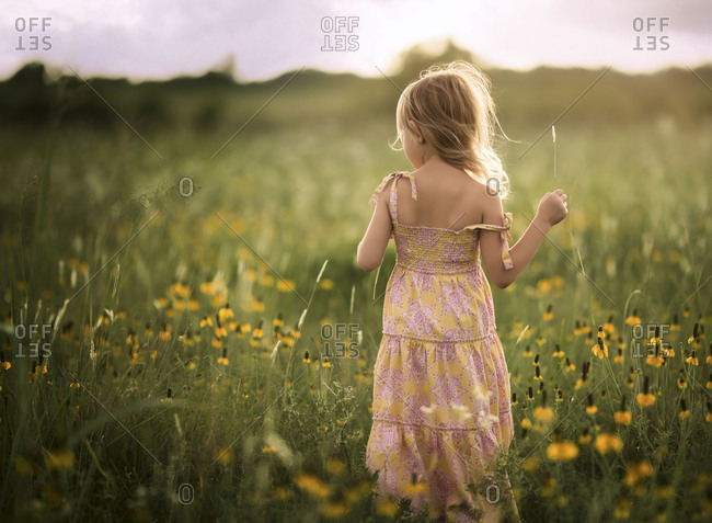 Child in a field of wildflowers
