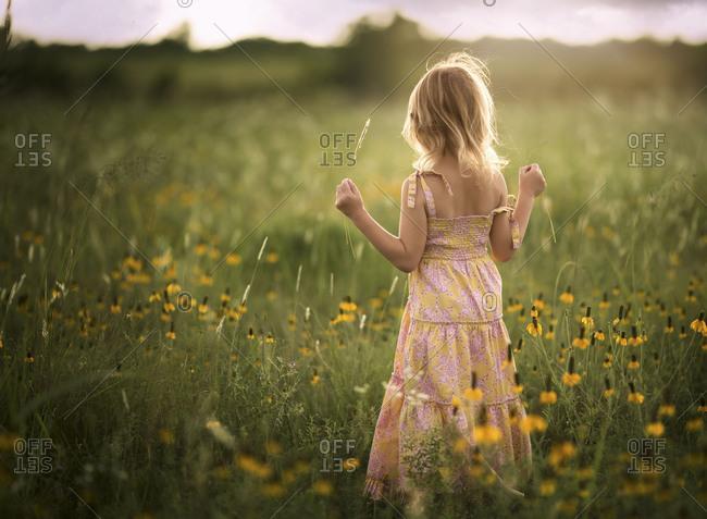 Girl in a field of wildflowers