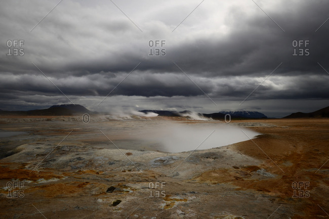 Steam rises from thermal features in the Hverir area of Iceland