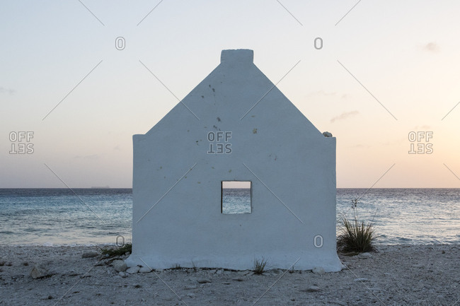 One of the white slave huts, which were constructed to house slaves working in the nearby salt flats on the island of Bonaire