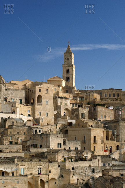The spire of Matera Cathedral rises above the city of Matera