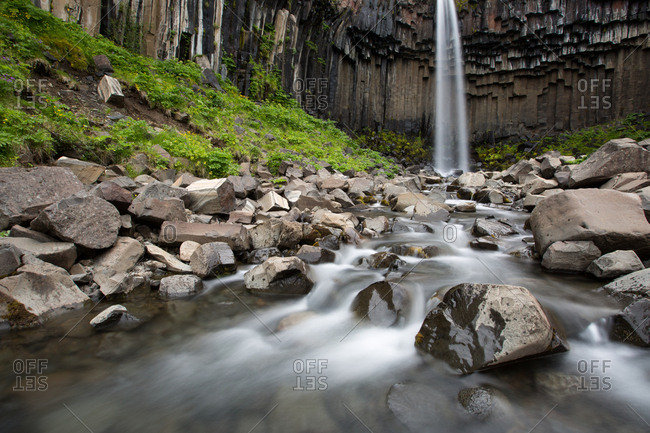 A view of Svartifoss Waterfall and basalt columns
