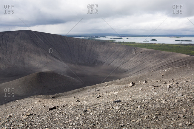 A view of the circular crater at Hverfjall Volcano