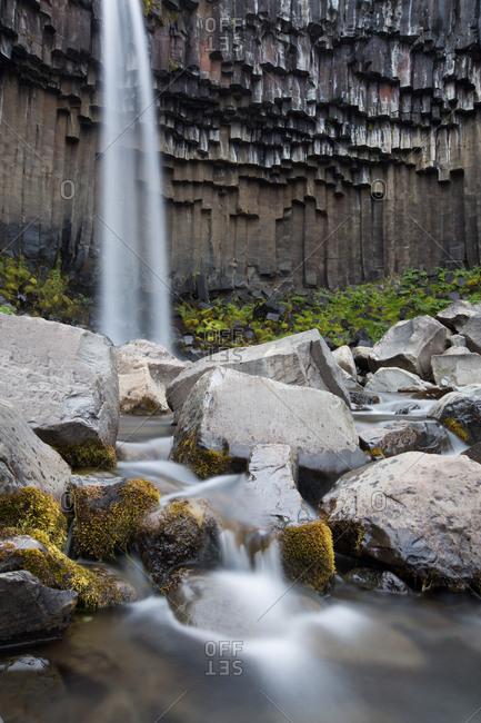 A view of Svartifoss Waterfall and basalt columns